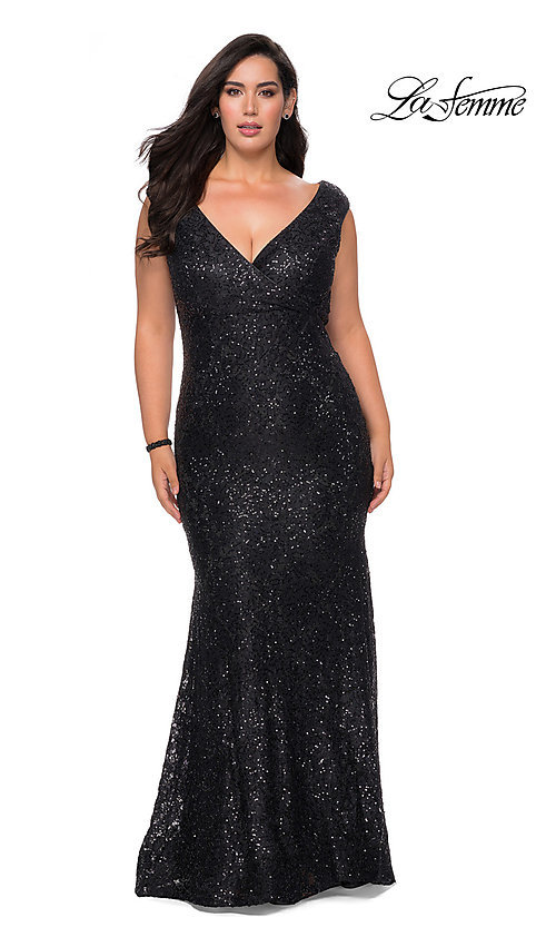Image of empire-waist long plus-size prom dress by La Femme. Style: LF-21-P28837 Front Image