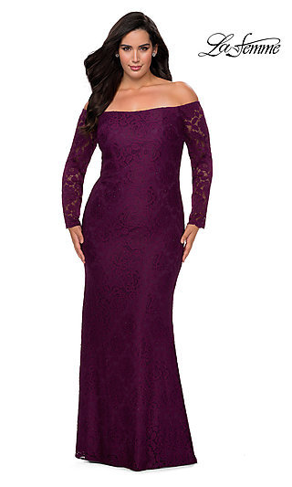 Plus-Size Long Sleeve Lace La Femme Prom Dress
