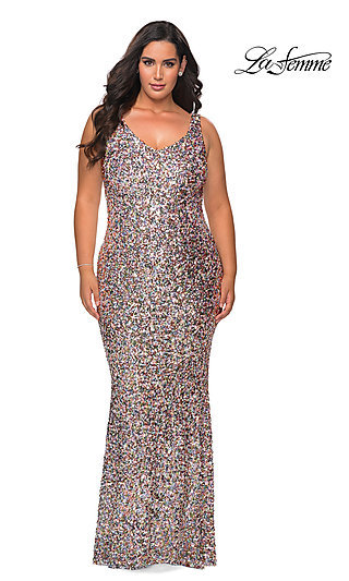 Multi-Color Allover Sequin Long Plus-Size Prom Dress