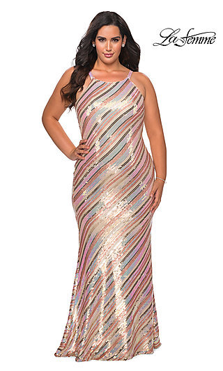 Long Striped Sequin Plus-Size Prom Dress
