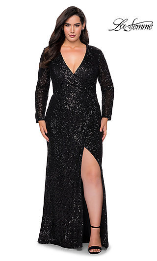 Sequin Plus-Size Long Sleeve La Femme Prom Dress