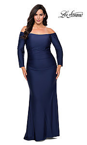 Image of off-the-shoulder La Femme plus-size prom dress. Style: LF-21-P28881 Front Image