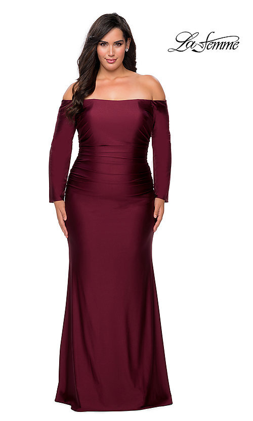 Image of off-the-shoulder La Femme plus-size prom dress. Style: LF-21-P28881 Detail Image 1