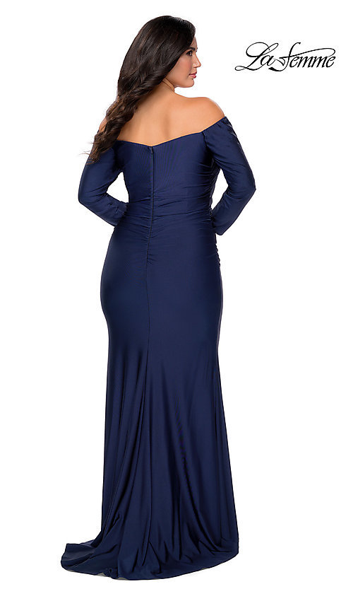 Image of off-the-shoulder La Femme plus-size prom dress. Style: LF-21-P28881 Back Image