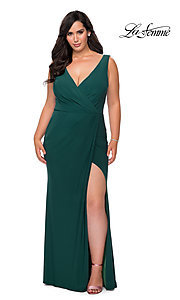 Image of simple long plus-size prom dress by La Femme. Style: LF-21-P28882 Detail Image 1