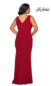 Image of simple long plus-size prom dress by La Femme. Style: LF-21-P28882 Back Image
