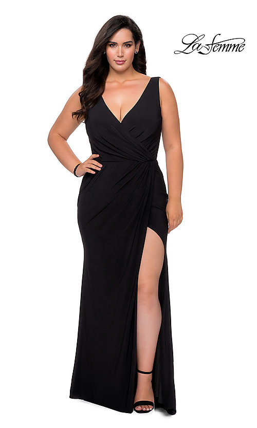 Image of simple long plus-size prom dress by La Femme. Style: LF-21-P28882 Detail Image 2
