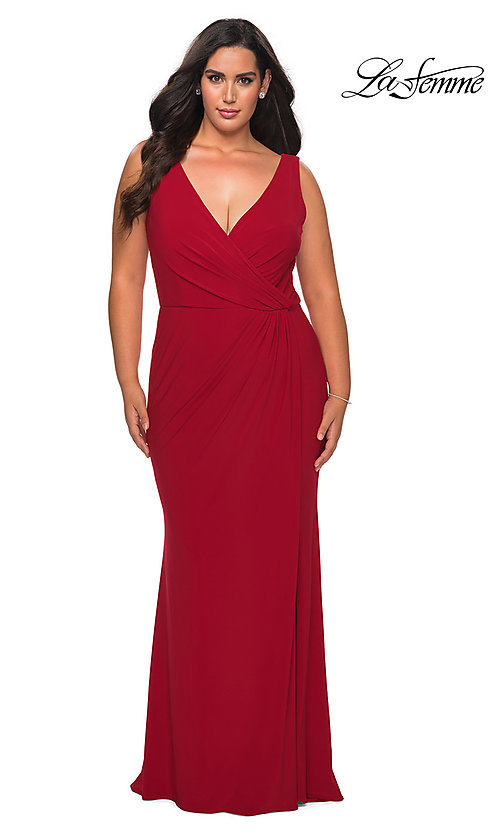 Image of simple long plus-size prom dress by La Femme. Style: LF-21-P28882 Detail Image 4