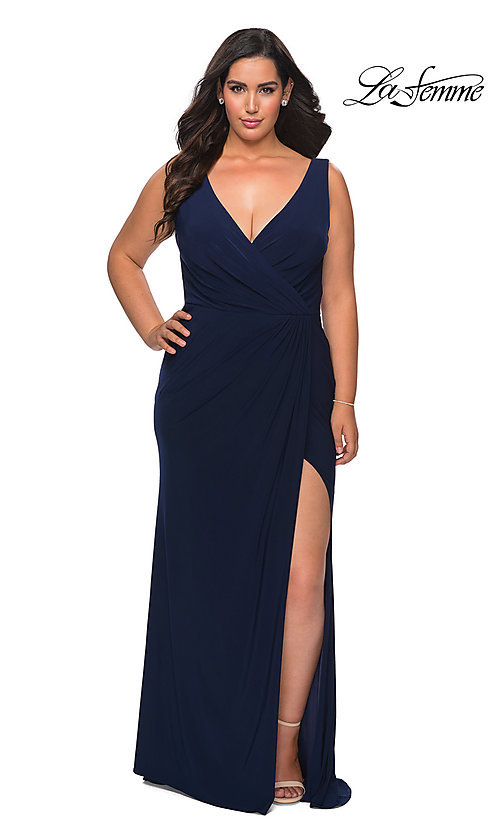 Image of simple long plus-size prom dress by La Femme. Style: LF-21-P28882 Detail Image 3