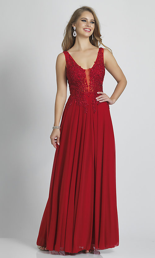 Image of Dave and Johnny long red prom dress with beads. Style: DJ-21-A9147 Front Image