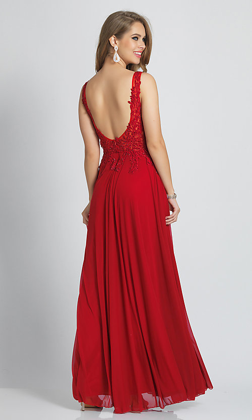 Image of Dave and Johnny long red prom dress with beads. Style: DJ-21-A9147 Back Image