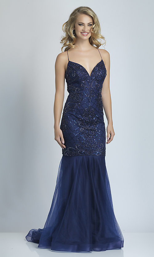 Image of backless navy blue long sequin mermaid prom dress. Style: DJ-21-A9155 Front Image