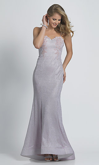 Glitter Long Formal Prom Dress by Dave & Johnny