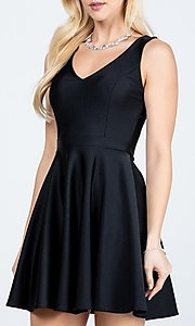 Image of short sleeveless simple fit-and-flare party dress. Style: LAS-LSC-21-25589 Detail Image 3