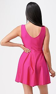 Image of short sleeveless simple fit-and-flare party dress. Style: LAS-LSC-21-25589 Back Image