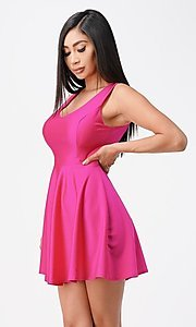 Image of short sleeveless simple fit-and-flare party dress. Style: LAS-LSC-21-25589 Detail Image 5