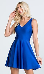 Image of short sleeveless simple fit-and-flare party dress. Style: LAS-LSC-21-25589 Detail Image 1