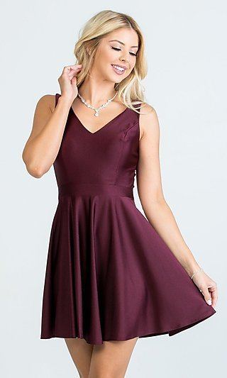 Short Sleeveless Simple Fit-and-Flare Party Dress