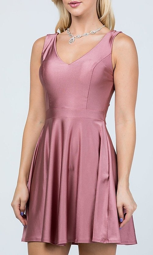 Image of short sleeveless simple fit-and-flare party dress. Style: LAS-LSC-21-25589 Detail Image 2