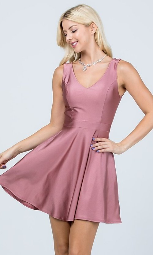 Image of short sleeveless simple fit-and-flare party dress. Style: LAS-LSC-21-25589 Detail Image 6