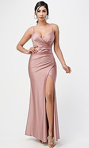 Image of wrap-style simple long prom dress. Style: LAS-LSC-21-25872 Front Image