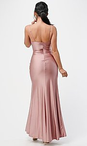 Image of wrap-style simple long prom dress. Style: LAS-LSC-21-25872 Back Image