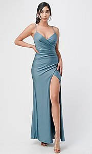Image of wrap-style simple long prom dress. Style: LAS-LSC-21-25872 Detail Image 4