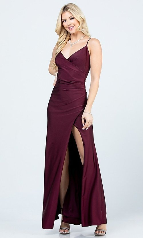 Image of wrap-style simple long prom dress. Style: LAS-LSC-21-25872 Detail Image 6