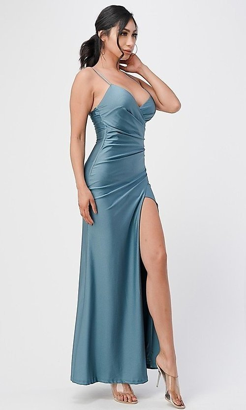 Image of wrap-style simple long prom dress. Style: LAS-LSC-21-25872 Detail Image 5