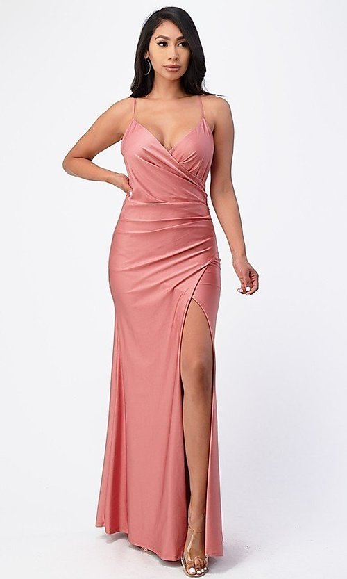 Image of wrap-style simple long prom dress. Style: LAS-LSC-21-25872 Detail Image 1