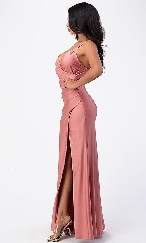 Image of wrap-style simple long prom dress. Style: LAS-LSC-21-25872 Detail Image 2