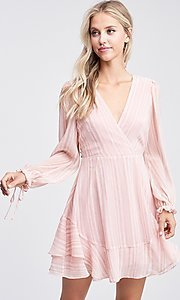 Image of light blush pink short casual striped party dress. Style: LAS-TCC-21-LD3417 Front Image