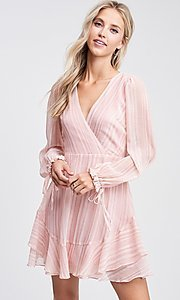 Image of light blush pink short casual striped party dress. Style: LAS-TCC-21-LD3417 Detail Image 3