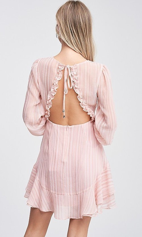 Image of light blush pink short casual striped party dress. Style: LAS-TCC-21-LD3417 Back Image
