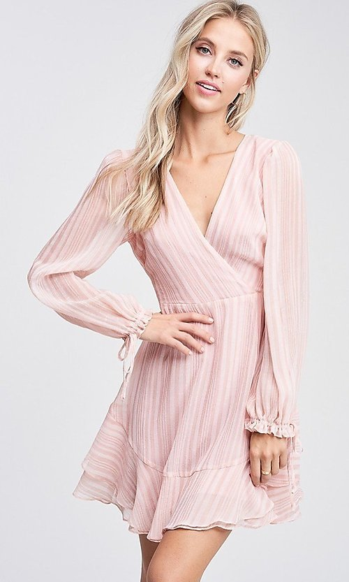 Image of light blush pink short casual striped party dress. Style: LAS-TCC-21-LD3417 Detail Image 1