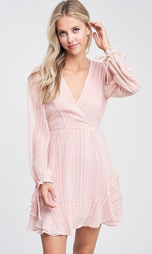 Image of light blush pink short casual striped party dress. Style: LAS-TCC-21-LD3417 Detail Image 2