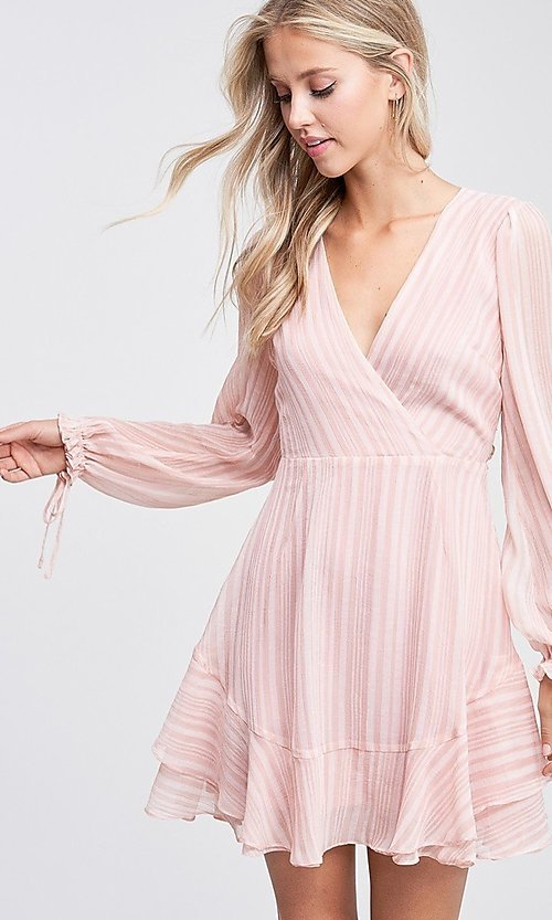 Image of light blush pink short casual striped party dress. Style: LAS-TCC-21-LD3417 Detail Image 4