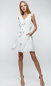 Image of button-up ruffle short white casual party dress. Style: LAS-TCC-21-LD3536 Front Image