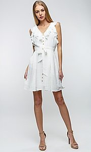 Image of button-up ruffle short white casual party dress. Style: LAS-TCC-21-LD3536 Detail Image 1