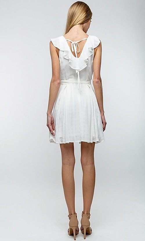 Image of button-up ruffle short white casual party dress. Style: LAS-TCC-21-LD3536 Back Image