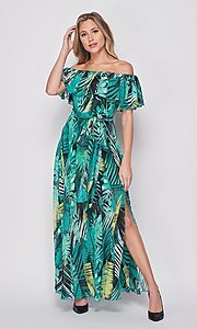 Image of palm-tree print off-the-shoulder maxi dress. Style: LAS-BIG-21-HD1084 Front Image