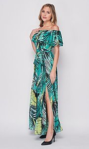 Image of palm-tree print off-the-shoulder maxi dress. Style: LAS-BIG-21-HD1084 Detail Image 1