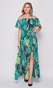 Image of palm-tree print off-the-shoulder maxi dress. Style: LAS-BIG-21-HD1084 Detail Image 2