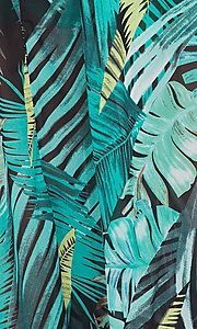 Image of palm-tree print off-the-shoulder maxi dress. Style: LAS-BIG-21-HD1084 Detail Image 3