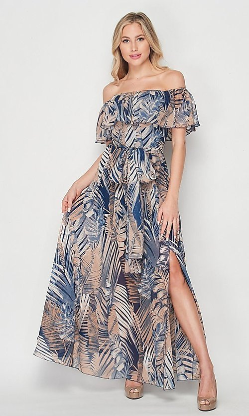 Image of palm-tree print off-the-shoulder maxi dress. Style: LAS-BIG-21-HD1084 Detail Image 4
