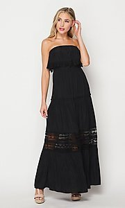 Image of casual lace-trim popover summer maxi party dress. Style: LAS-BIG-21-HD1108-PD4075 Detail Image 4