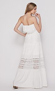 Image of casual lace-trim popover summer maxi party dress. Style: LAS-BIG-21-HD1108-PD4075 Back Image