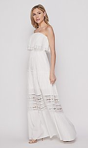 Image of casual lace-trim popover summer maxi party dress. Style: LAS-BIG-21-HD1108-PD4075 Detail Image 1
