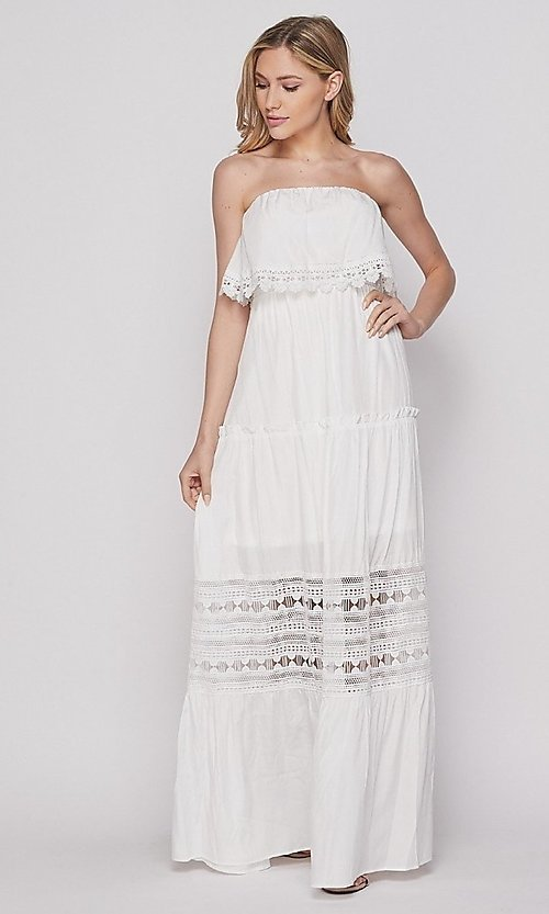 Image of casual lace-trim popover summer maxi party dress. Style: LAS-BIG-21-HD1108-PD4075 Detail Image 2
