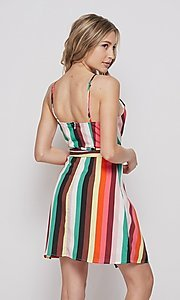 Image of striped casual short summer wrap dress. Style: LAS-BIG-21-PD4084 Back Image